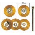 Brush brass wheel 22mm, 5 pcs with arbor #28962