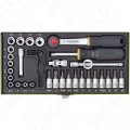 "Precision engineer's 36-piece set with 1/4"" ratchet"