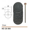 Cutting disc, aluminium oxide, 22x0.8mm, 10 pcs with arbor #2880